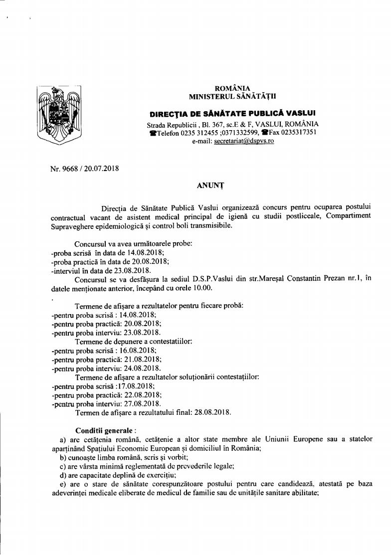 Anunt concurs asistent medical principal igiena Comp. Supreaveghere epidemiologica si control boli transmisibile  14-23.08.2018jpg Page1